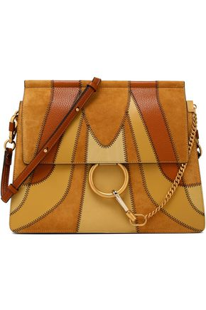CHLOÉ Patchwork leather and nubuck shoulder bag