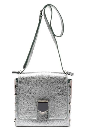 JIMMY CHOO Studded metallic cracked-leather shoulder bag