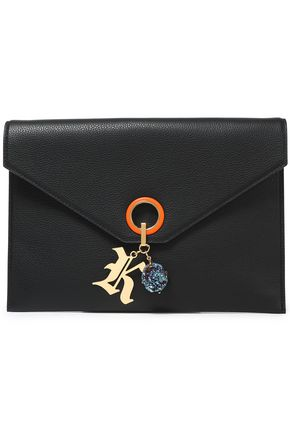 CHRISTOPHER KANE Embellished pebbled-leather clutch