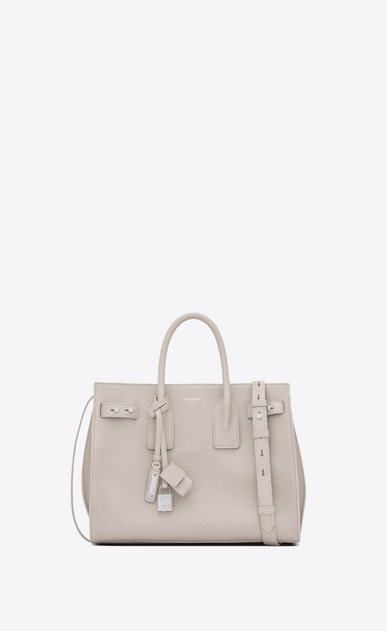 SAINT LAURENT Sac De Jour Supple Woman small sac de jour souple bag in icy white white grained leather a_V4