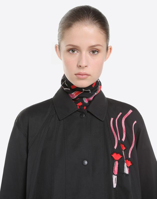 Jacket with Valentino and Lipstick embroidery