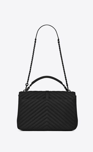 SAINT LAURENT Monogram College Woman large collège bag in black matelassé leather b_V4