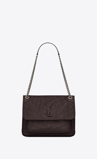 SAINT LAURENT Niki bags Woman medium niki chain bag in crinkled and quilted black tulip leather a_V4