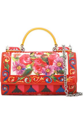 DOLCE & GABBANA Von printed textured-leather shoulder bag