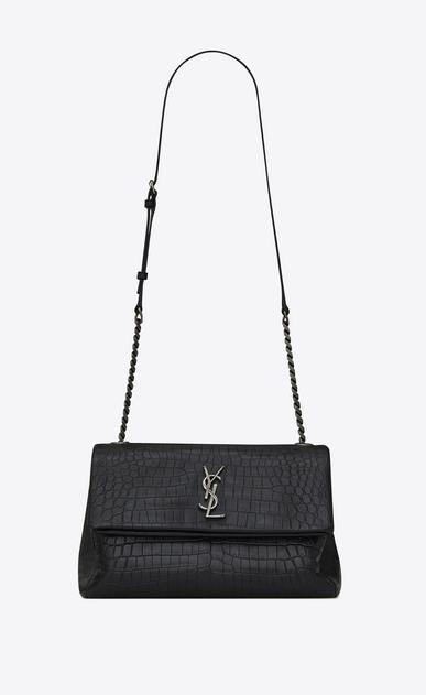 medium west hollywood bag in black crocodile embossed leather
