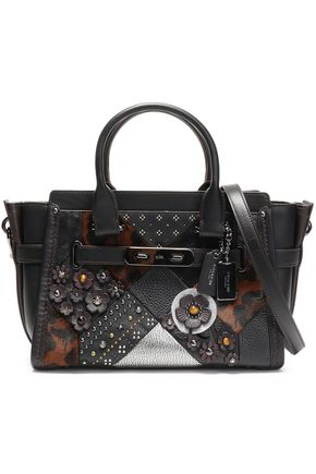 COACH Embellished leopard-print calf hair, smooth and textured-leather shoulder bag