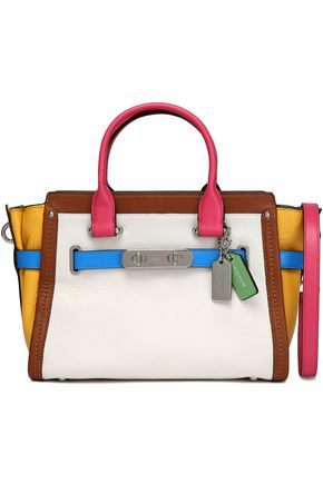 COACH Color-block smooth and textured-leather shoulder bag