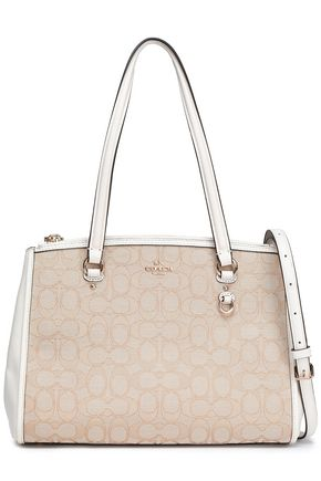 COACH Leather-trimmed jacquard shoulder bag