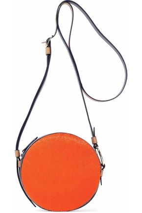 DIANE VON FURSTENBERG Leather-trimmed calf hair shoulder bag