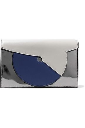 DIANE VON FURSTENBERG Soiree color-block matte and mirrored-leather shoulder bag