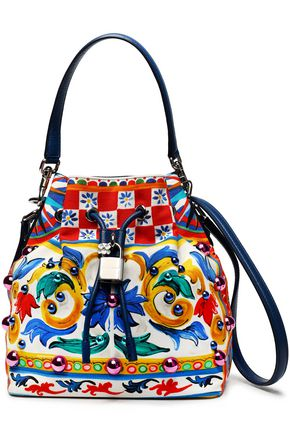 DOLCE & GABBANA Claudia embellished printed canvas bucket bag
