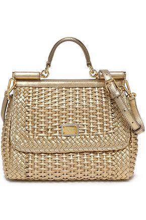 DOLCE & GABBANA Sicily metallic woven leather shoulder bag