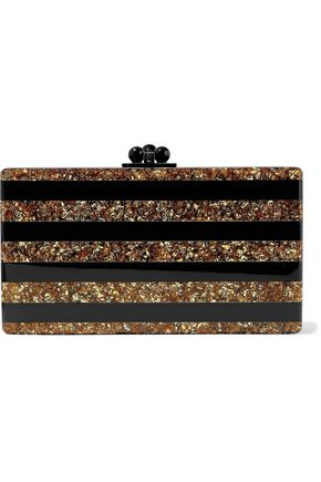 EDIE PARKER Jean striped glittered acrylic box clutch