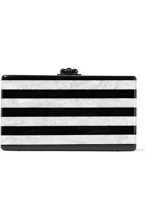 EDIE PARKER Jean striped marble-effect acrylic box clutch