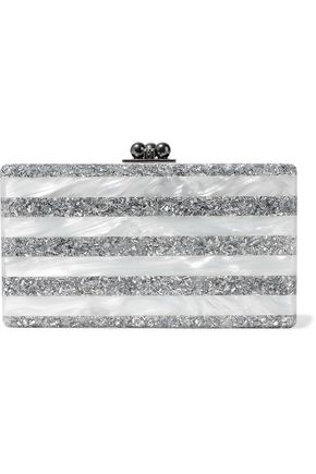 EDIE PARKER Jean glittered and marble-effect acrylic box clutch