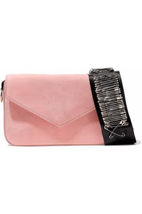 EDIE PARKER Melissa embellished grosgrain-trimmed suede shoulder bag