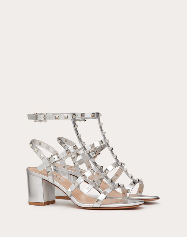 Rockstud metallic ankle strap sandal 60mm