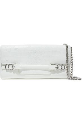 HALSTON HERITAGE Croc-effect and glossed-leather shoulder bag