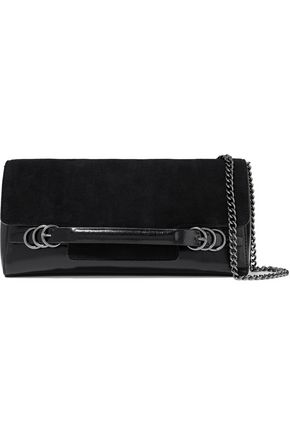HALSTON HERITAGE Suede and glossed-leather shoulder bag