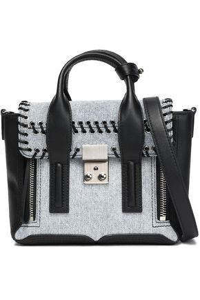 3.1 PHILLIP LIM Denim-paneled leather shoulder bag