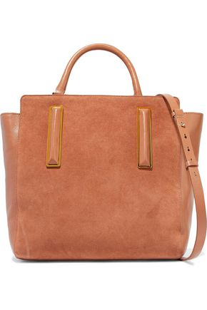 HALSTON HERITAGE Paneled suede and leather shoulder bag