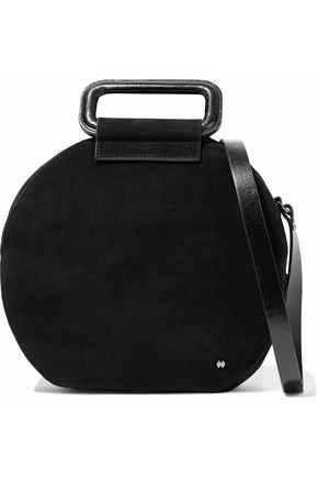 HALSTON HERITAGE Glossed leather-trimmed suede shoulder bag