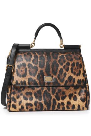 DOLCE & GABBANA Miss Sicily leopard-print textured-leather shoulder bag