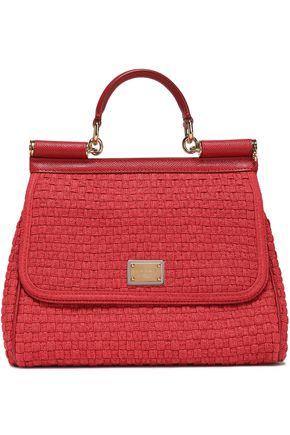 DOLCE & GABBANA Sicily leather-trimmed woven shoulder bag