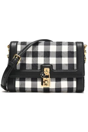 DOLCE & GABBANA Leather-trimmed checked woven shoulder bag