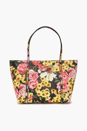 DOLCE & GABBANA Floral-print textured-leather tote