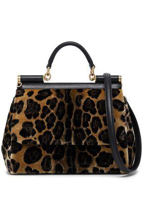 DOLCE & GABBANA Sicily leather-trimmed leopard-print velvet shoulder bag