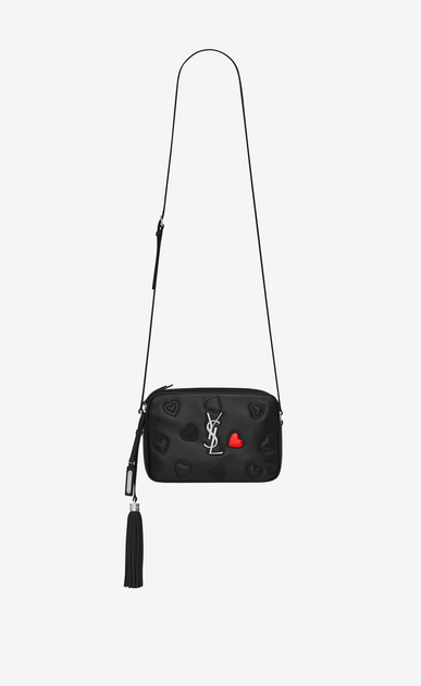 SAINT LAURENT Camera bag Woman lou camera bag with hearts in black leather a_V4