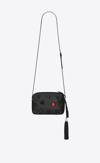 SAINT LAURENT Camera bag Woman lou camera bag with hearts in black leather b_V4