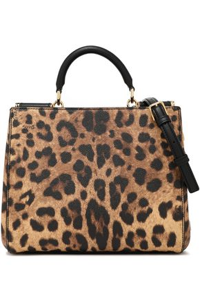 DOLCE & GABBANA Leopard-print textured-leather shoulder bag