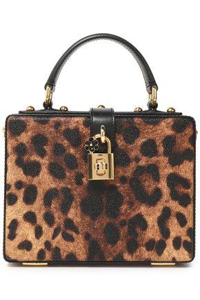 DOLCE & GABBANA Dolce Box leopard-print textured-leather shoulder bag