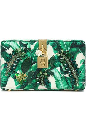 DOLCE & GABBANA Dolce crystal-embellished printed jacquard box clutch