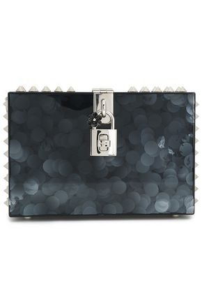DOLCE & GABBANA Dolce spiked glittered acrylic box clutch