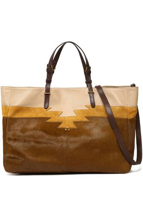 JÉRÔME DREYFUSS Leather, suede and calf hair tote