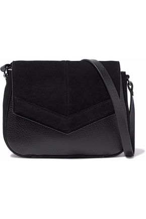 HALSTON HERITAGE Faux- suede-paneled faux leather shoulder bag