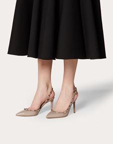Туфли Rockstud из лаковой кожи с задним ремешком, каблук 85 мм
