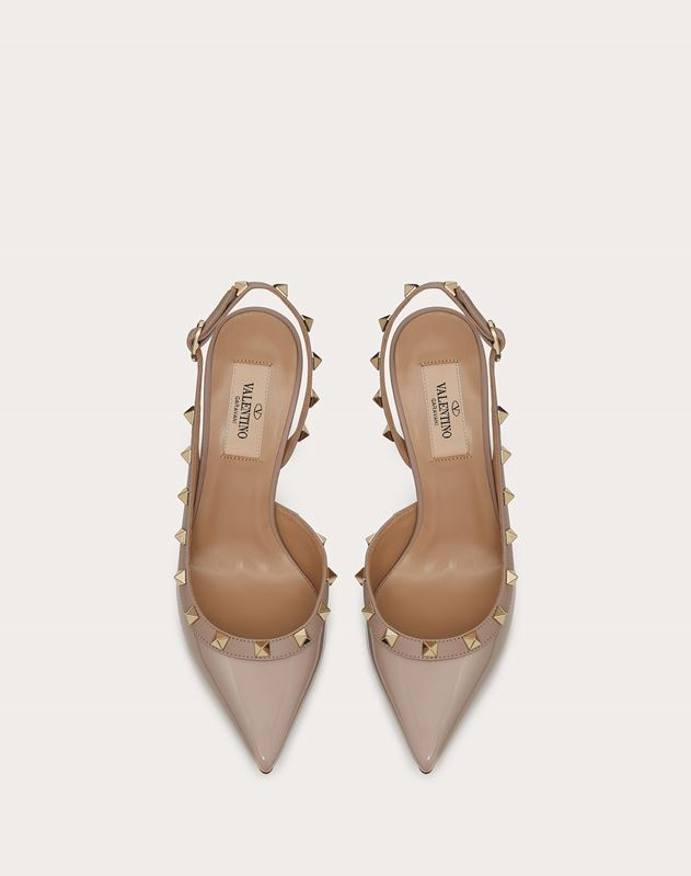 Slingback-Pumps Rockstud aus Lackleder 85 mm