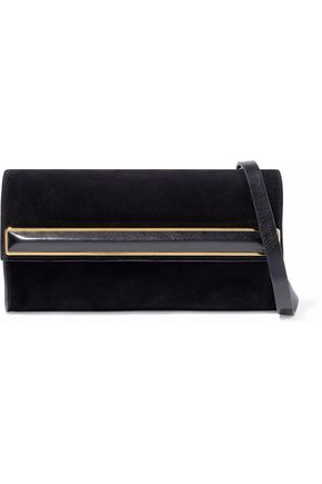 HALSTON HERITAGE Leather-trimmed embellished faux suede clutch