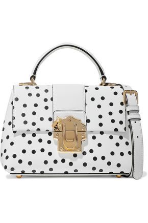 DOLCE & GABBANA Lucia polka-dot textured-leather shoulder bag