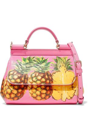 DOLCE & GABBANA Mini Sicily printed textured-leather tote