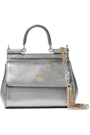 DOLCE & GABBANA Sicily mini metallic lizard effect-leather shoulder bag