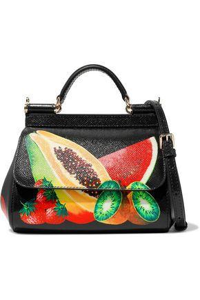 WOMAN MINI SICILY PRINTED TEXTURED-LEATHER TOTE BLACK