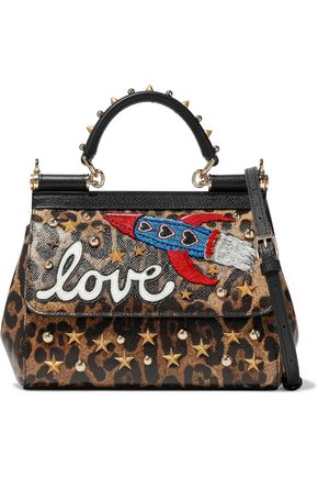 DOLCE & GABBANA Sicily mini embellished leopard-print textured-leather shoulder bag