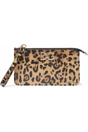 DOLCE & GABBANA Leopard-print textured-leather pouch