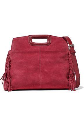 MAJE Fringed-trimmed suede shoulder bag