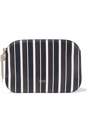 NINA RICCI Elide striped textured-leather pouch